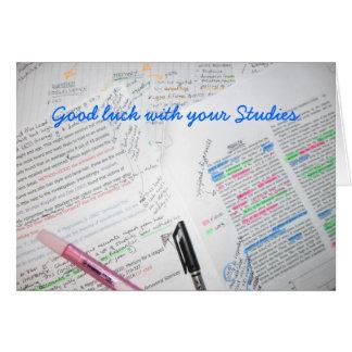 Tarjeta Buena suerte con sus estudios