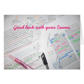 Tarjeta Buena suerte con sus exámenes