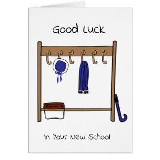 Tarjeta Buena suerte en su nueva escuela