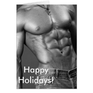 Tarjeta Buenas fiestas - Bodybuilder masculino en vaqueros
