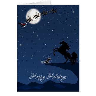 Tarjeta Buenas fiestas Luna Llena, Santa, unicornio y hada