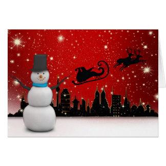 Tarjeta Buenas fiestas muñeco de nieve