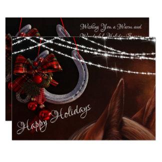 Tarjeta Buenas fiestas navidad del caballo y de la
