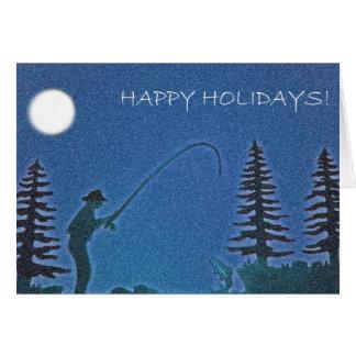 Tarjeta ¡Buenas fiestas! Pescador de la mosca en nieve