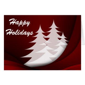Tarjeta Buenas fiestas, rojo con los árboles blancos