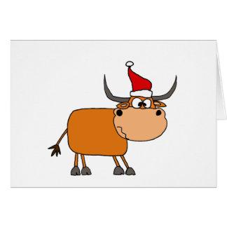Tarjeta Bull divertida en diseño del navidad del gorra de