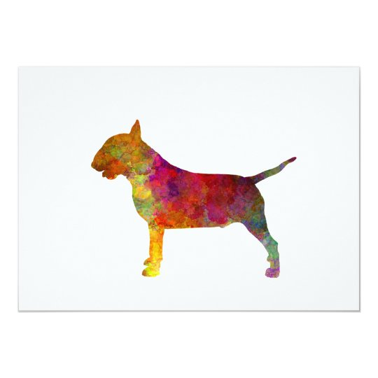 Tarjeta Bull Terrier  in watercolor
