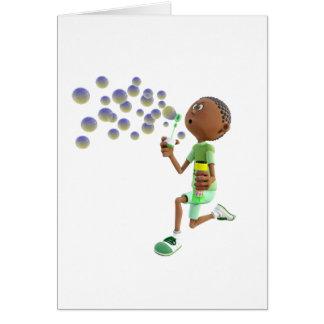 Tarjeta Burbujas que soplan del muchacho afroamericano del