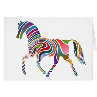 Tarjeta Caballo Color-Rayado del arco iris
