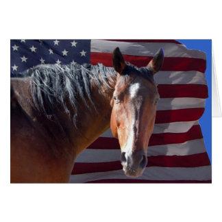 Tarjeta Caballo cuarto americano patriótico y espacio en
