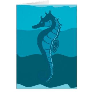 Tarjeta Caballo de mar, ondas de la aguamarina, proyecto