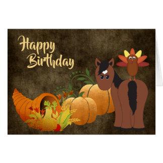 Tarjeta Caballo lindo de Brown y cumpleaños de oro del