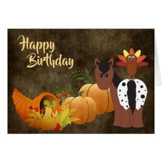Tarjeta Caballo lindo del Appaloosa y cumpleaños del otoño