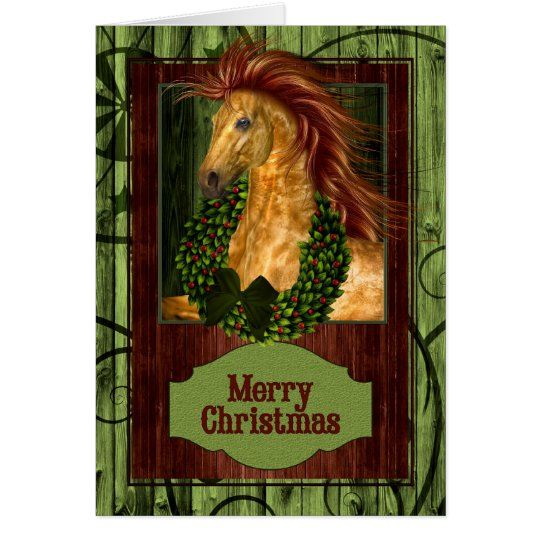 Tarjeta Caballo occidental del navidad con Barnwood verde