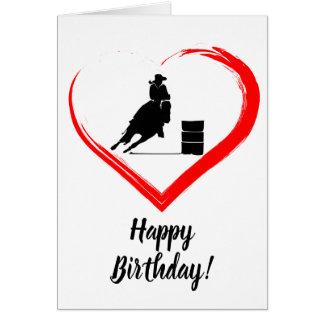 Tarjeta ¡Caballo que compite con del barril y cumpleaños