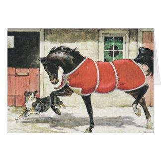 Tarjeta Caballo y perro del vintage de las Felices Navidad