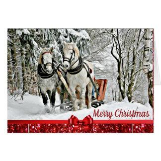 Tarjeta Caballos de las Felices Navidad que tiran de la