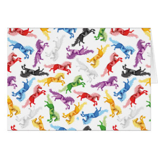 Tarjeta Caballos de salto coloreados del modelo