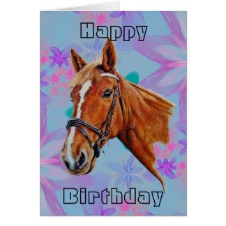 Tarjeta Cabeza de caballo en feliz cumpleaños de las