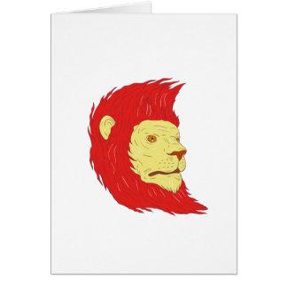 Tarjeta Cabeza del león con el dibujo de la melena que