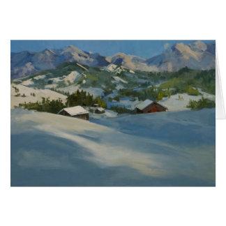 Tarjeta Cabinas del esquí en las montañas