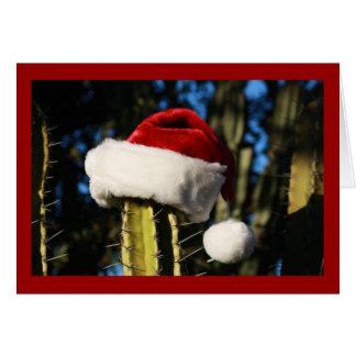 Tarjeta Cactus del gorra de Santa