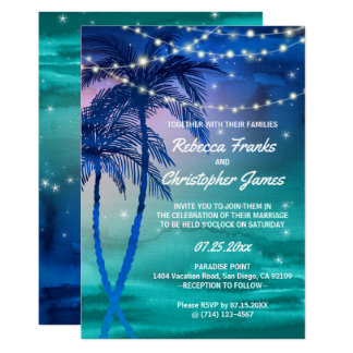 Tarjeta Cadenas de las palmeras de luces que casan