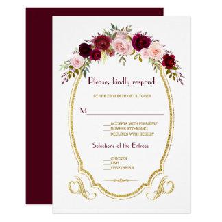 Tarjeta Caída floral elegante de Borgoña Marsala que casa