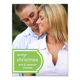 Tarjeta-cal marcada con etiqueta del navidad de la invitación 10,8 x 13,9 cm