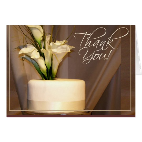 Tarjeta ¡Cala y pastel de bodas - gracias!