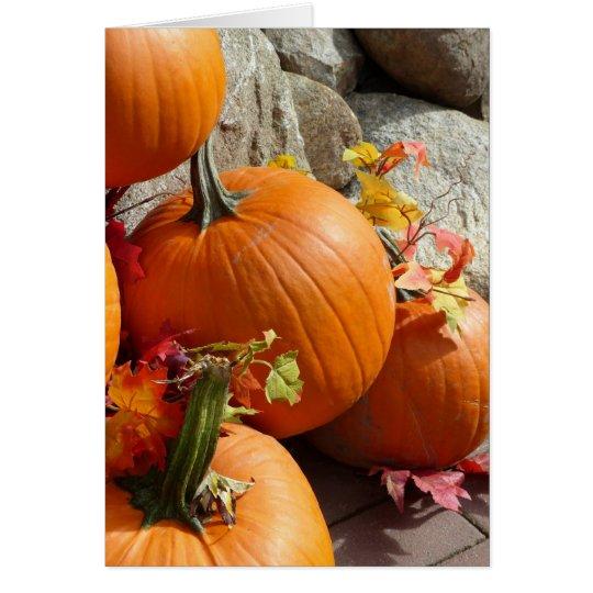 Tarjeta Calabaza de otoño feliz