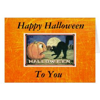 Tarjeta Calabaza del feliz Halloween del vintage con el