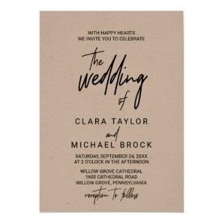 Tarjeta Caligrafía caprichosa Kraft el boda de