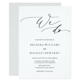 Tarjeta Caligrafía elegante simple hacemos el boda
