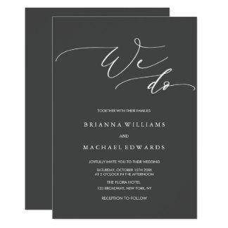 Tarjeta Caligrafía elegante simple hacemos el boda del