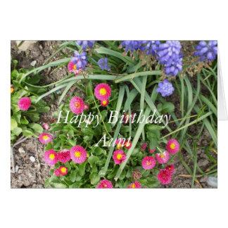 Tarjeta Cama de la Cumpleaños-flor de la tía