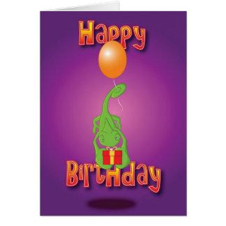 Tarjeta camaleón - globo - feliz cumpleaños