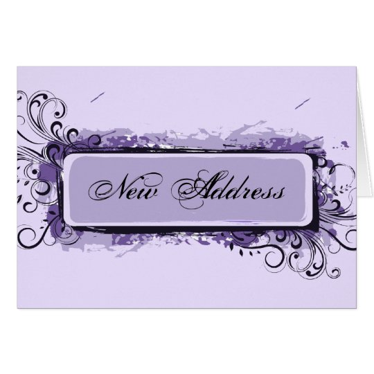 Tarjeta Cambio de dirección floral abstracto púrpura