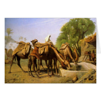 """Tarjeta """"Camellos en el canal"""", por Jean León Gerome"""