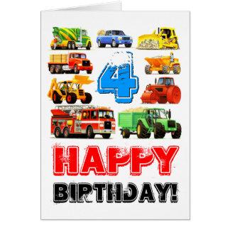 Tarjeta Camión de la construcción del cumpleaños del