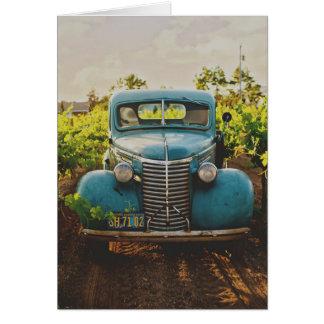 Tarjeta Camión del azul del vintage