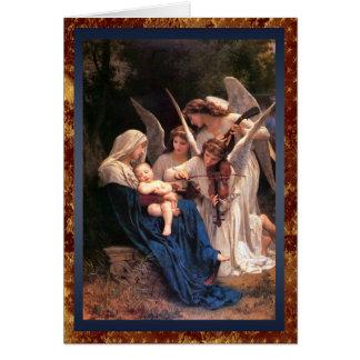 Tarjeta Canción del navidad del vintage de los ángeles