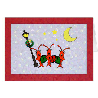 Tarjeta Cangrejos de Caroling/tarjeta de Navidad del trío