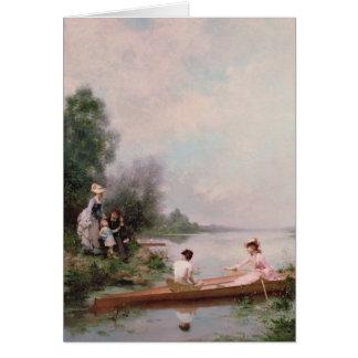 Tarjeta Canotaje en el río, siglo XIX