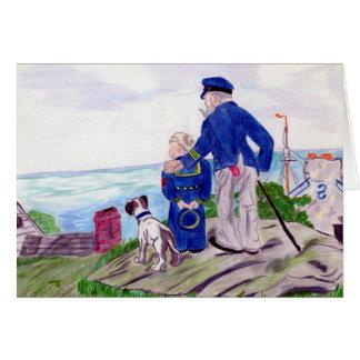 Tarjeta Capitán de mar del abuelo con el nieto del