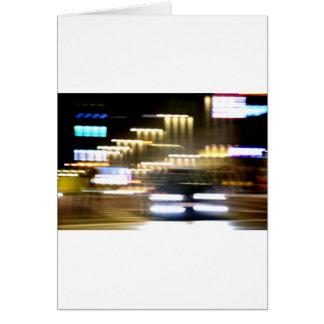 Tarjeta Car in street in urban city lights with distortion