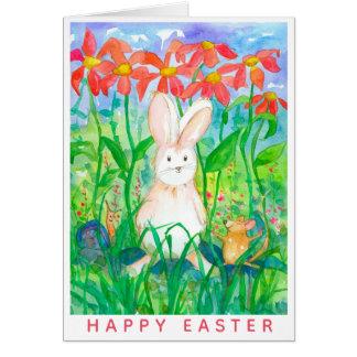 Tarjeta Caracol blanco Pascua feliz del ratón del conejo