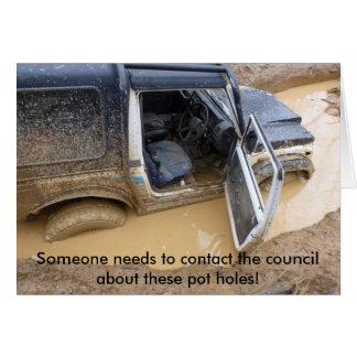 Tarjeta Carde 4x4 del jeep del roader pegado en fango