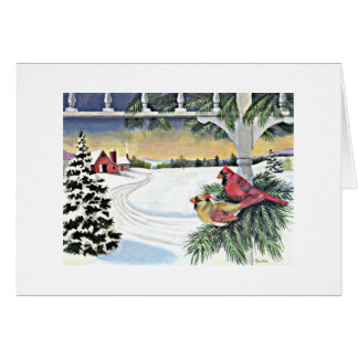 Tarjeta Cardenales en invierno