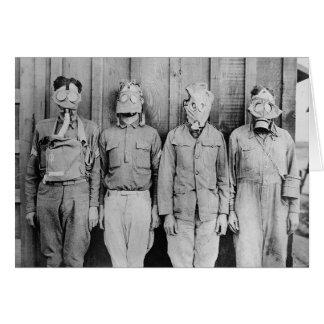 Tarjeta Caretas antigás de la era de WWI, 1917
